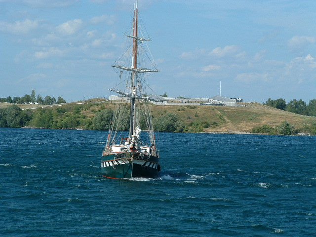 In Kingston, Ontario, sits old Fort Henry, which is placed where the St. Lawrence River meets Lake Ontario., gateway into the Great Lakes Basin.