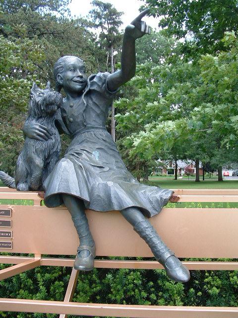 Statue in the park facing the Stratford Festival Theatre.